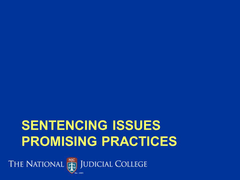 Sentencing issues promising practices