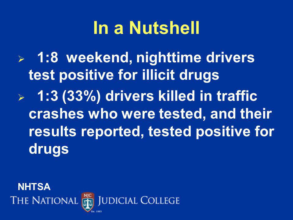 In a Nutshell 1:8 weekend, nighttime drivers test positive for illicit drugs.