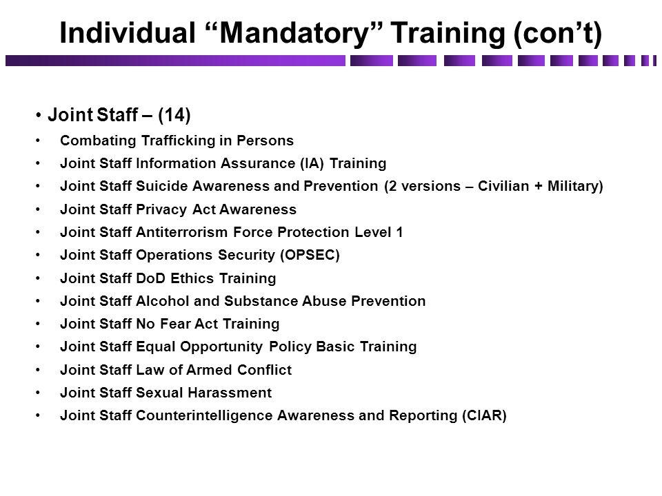 Individual Mandatory Training (con't)