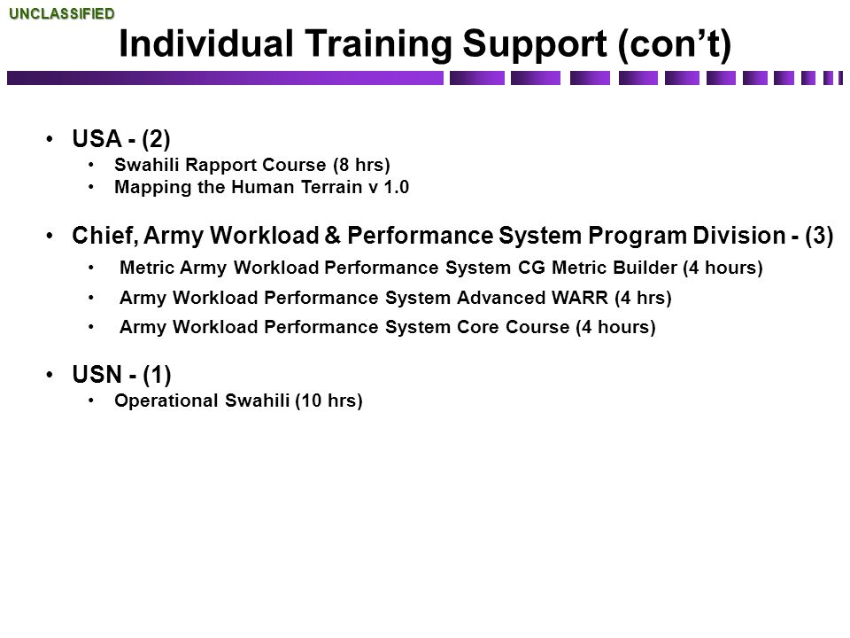 Individual Training Support (con't)