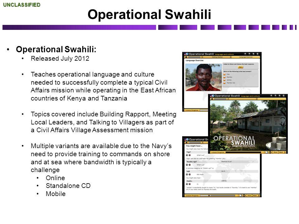 Operational Swahili Operational Swahili: Released July 2012