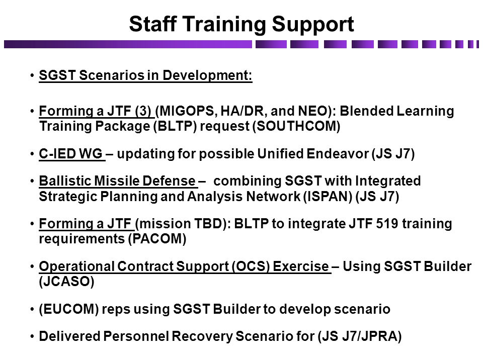 Staff Training Support