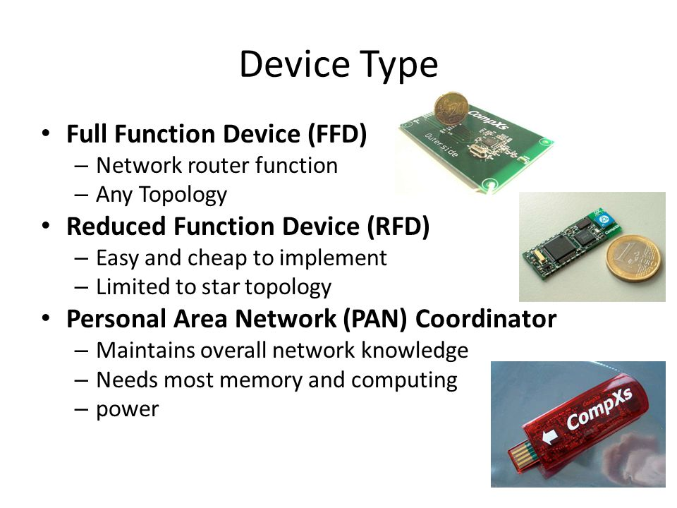 Device Type Full Function Device (FFD) Reduced Function Device (RFD)