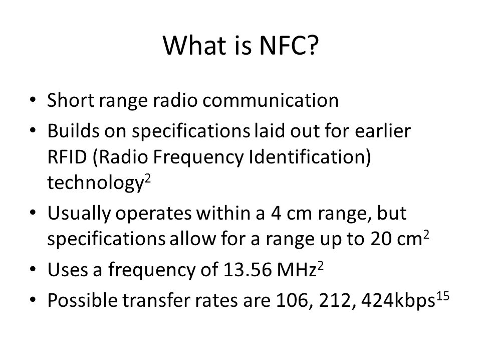 What is NFC Short range radio communication