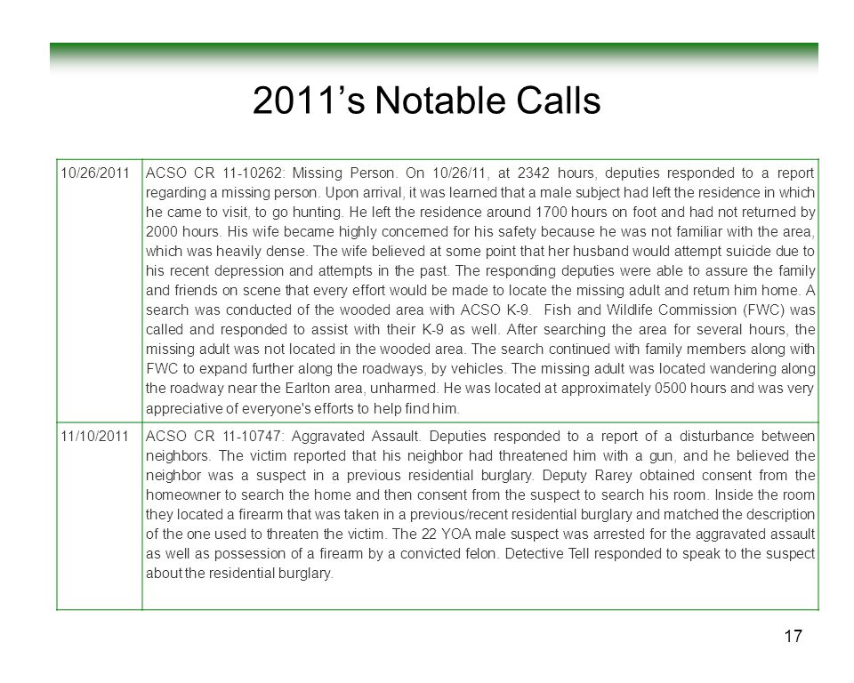 2011's Notable Calls 10/26/2011.