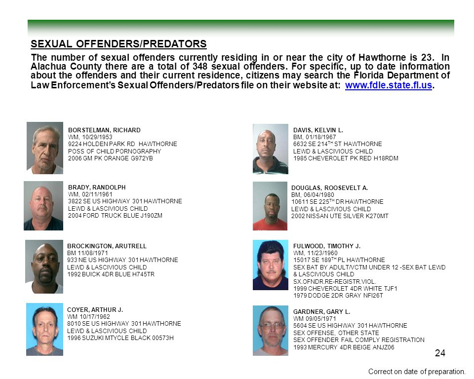 SEXUAL OFFENDERS/PREDATORS