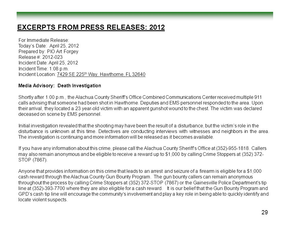 EXCERPTS FROM PRESS RELEASES: 2012