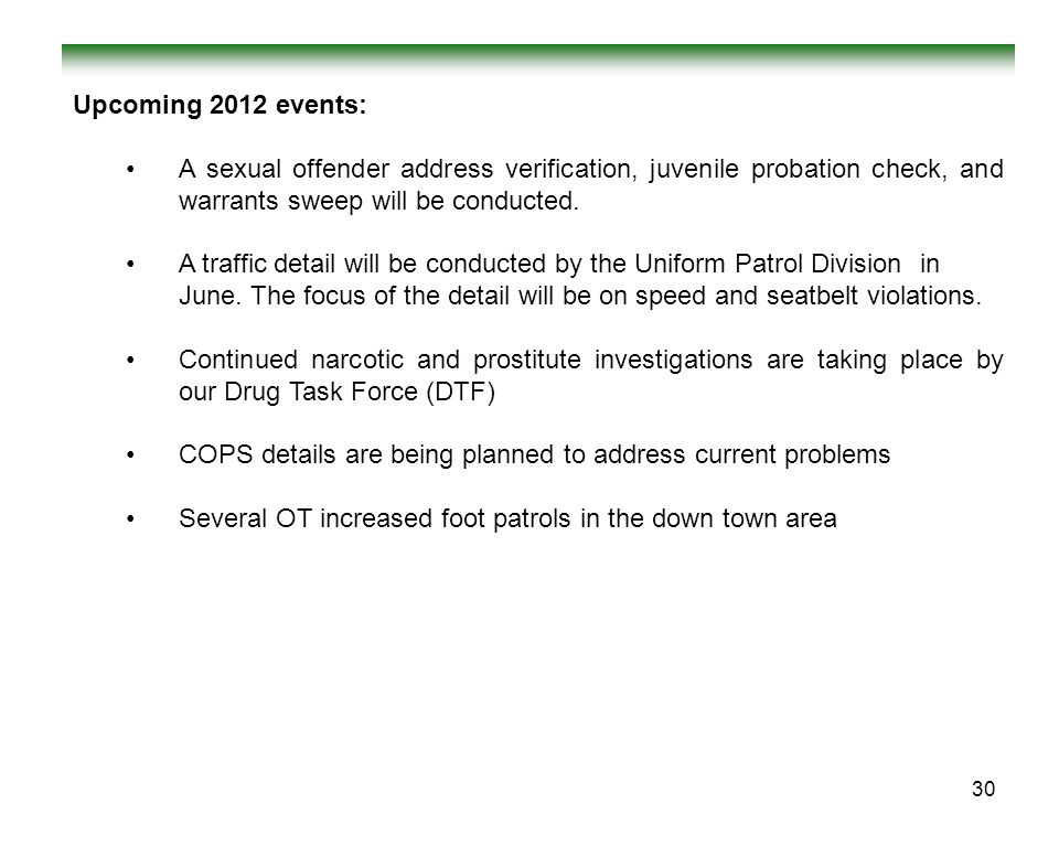 Upcoming 2012 events: A sexual offender address verification, juvenile probation check, and warrants sweep will be conducted.