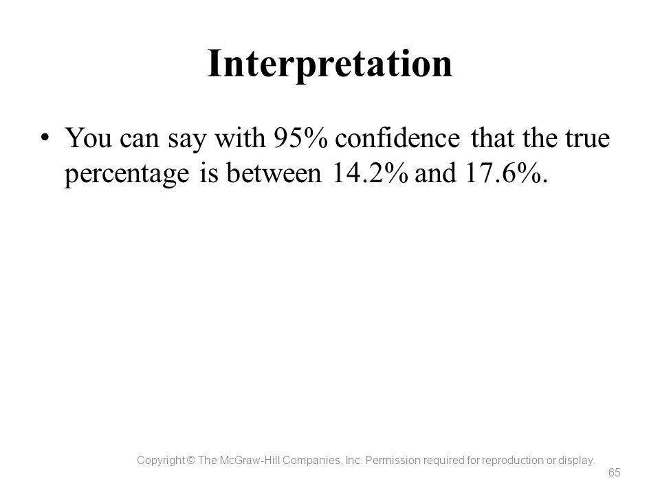 Interpretation You can say with 95% confidence that the true percentage is between 14.2% and 17.6%.