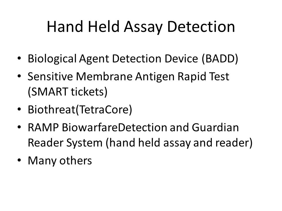 Hand Held Assay Detection