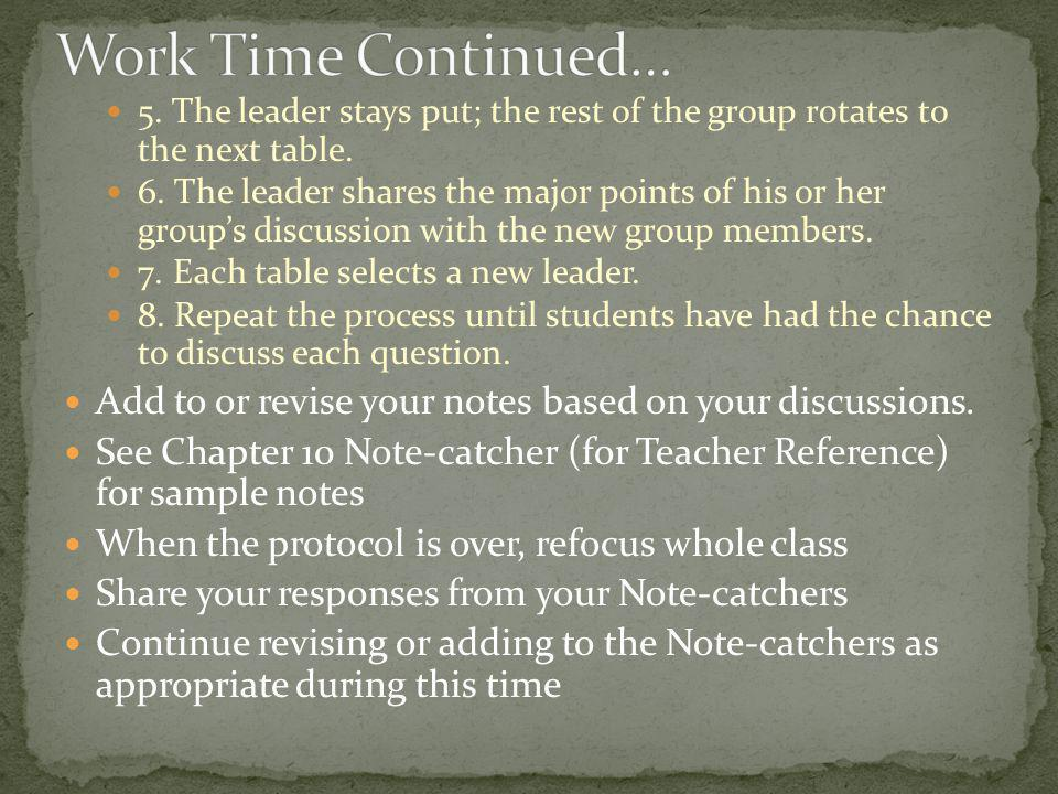 Work Time Continued… 5. The leader stays put; the rest of the group rotates to the next table.