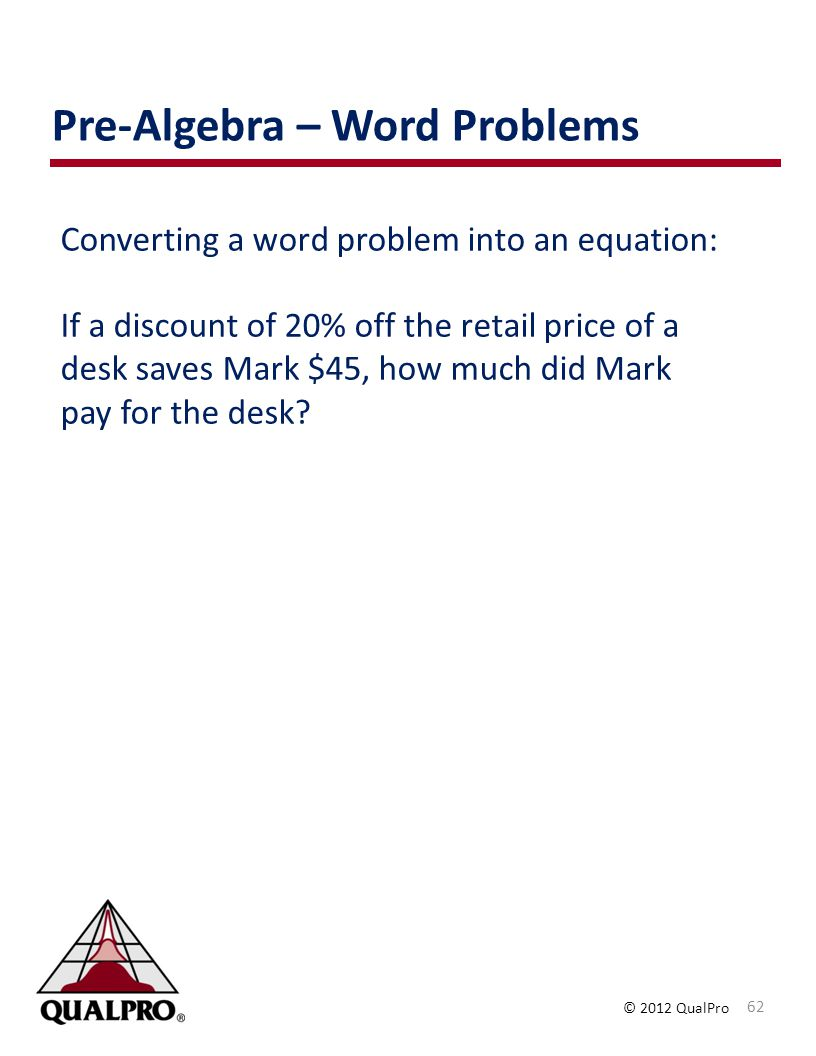 Pre-Algebra – Word Problems