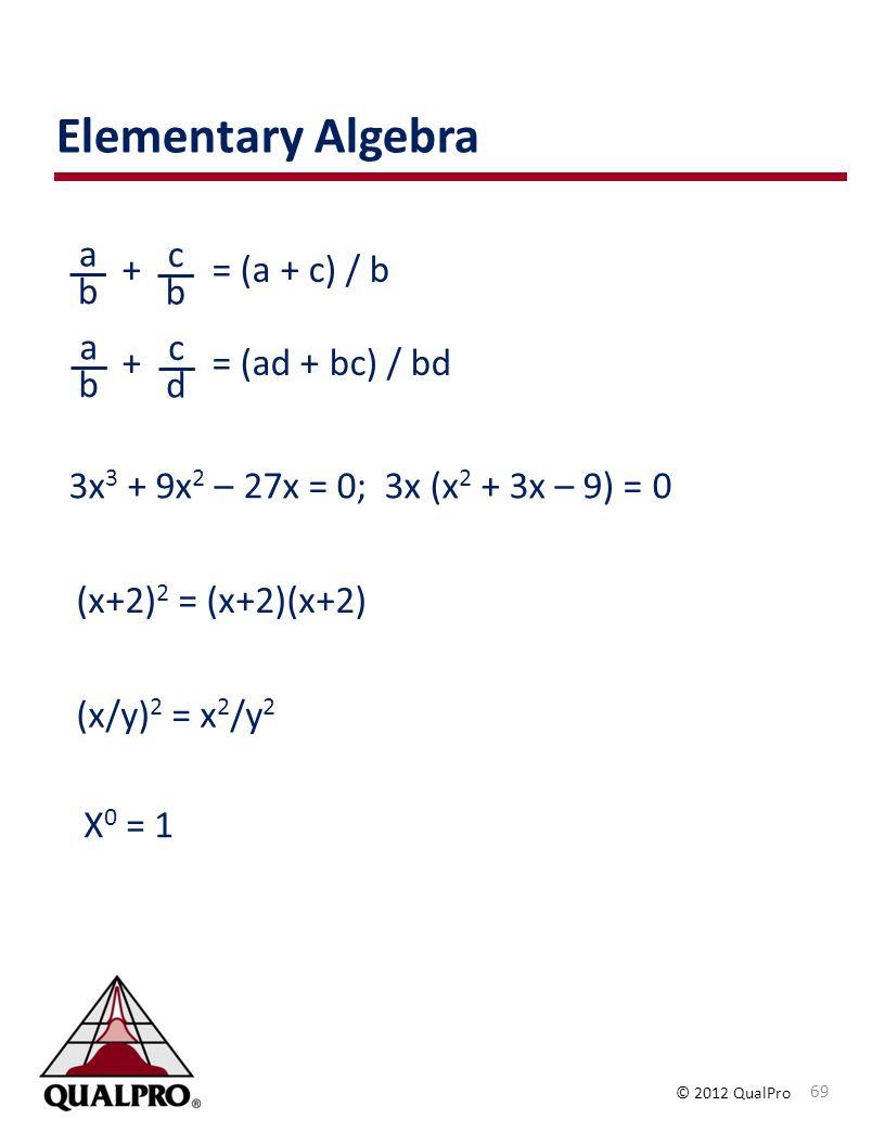 Elementary Algebra a c + = (a + c) / b + = (ad + bc) / bd b b a c b d