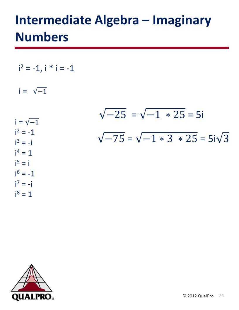 Intermediate Algebra – Imaginary Numbers