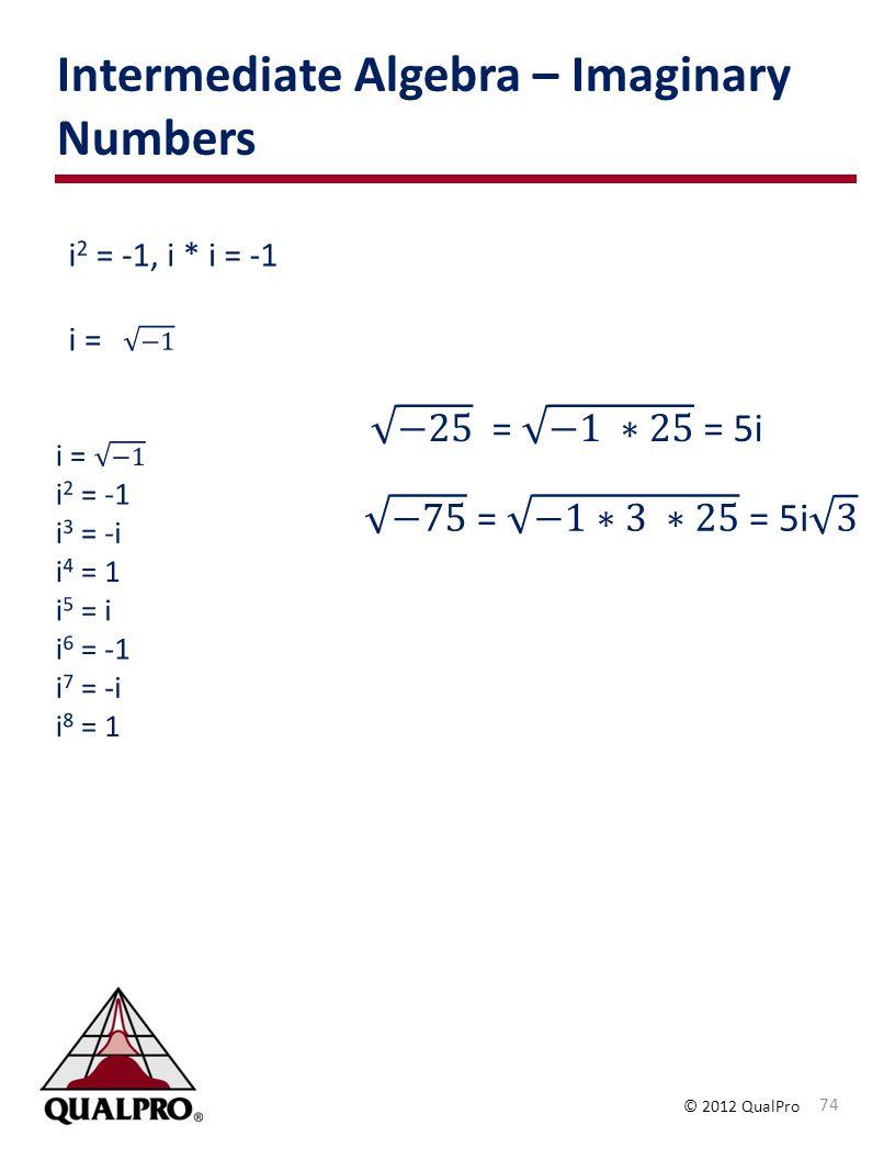 Intermediate Algebra – Imaginary Numbers