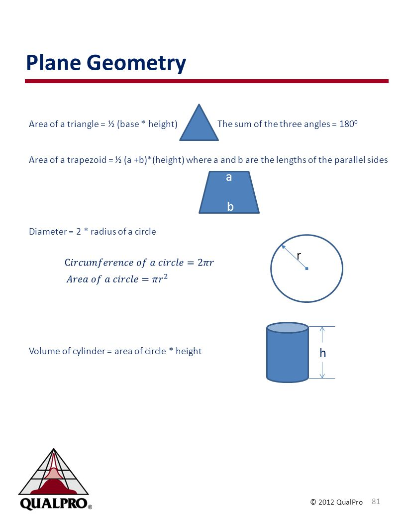 Plane Geometry Area of a triangle = ½ (base * height) The sum of the three angles = 1800.