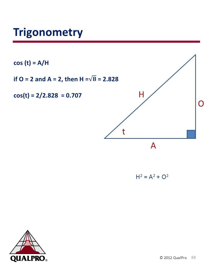 Trigonometry H O t A H2 = A2 + O2