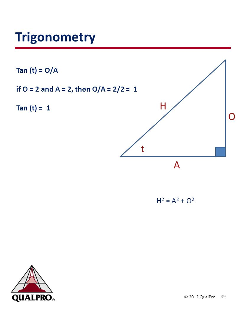 Trigonometry H O t A Tan (t) = O/A