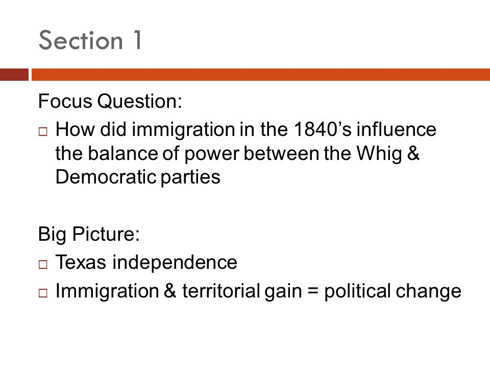 Section 1 Focus Question: