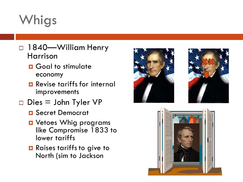 Whigs 1840—William Henry Harrison Dies = John Tyler VP