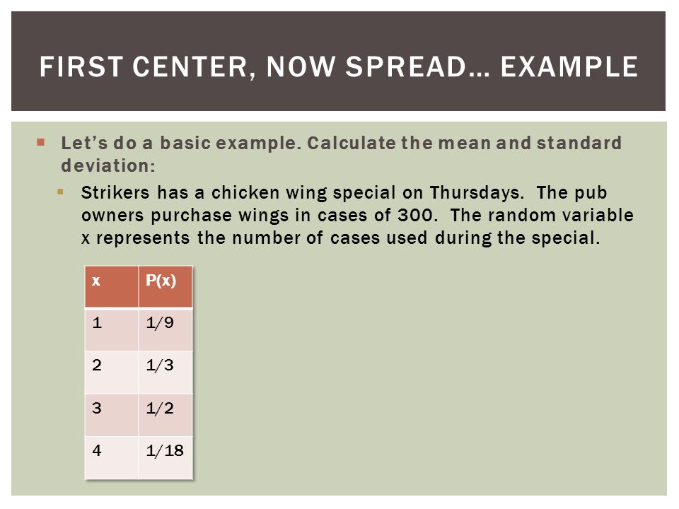 First Center, Now Spread… EXAMPLE