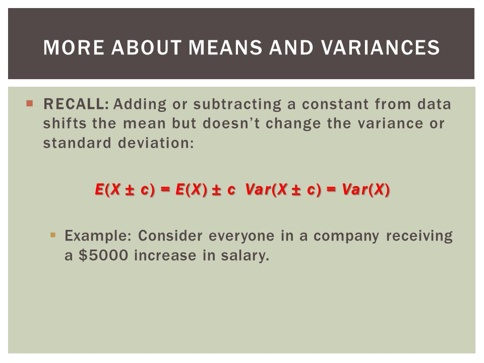 More About Means and Variances