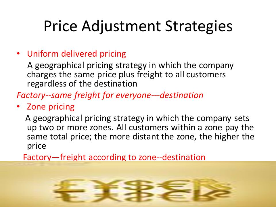 geographical pricing strategy A geographical pricing strategy in which the seller designates some city as a basing point and charges all customers the freight cost from that city to the customer freight-absorption pricing a geographical pricing strategy in which the seller absorbs all or part of the freight charges in order to get the desired business.
