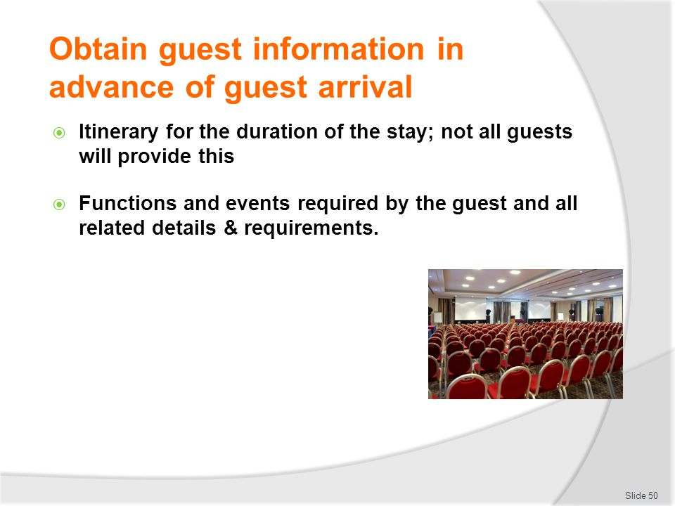 Obtain guest information in advance of guest arrival