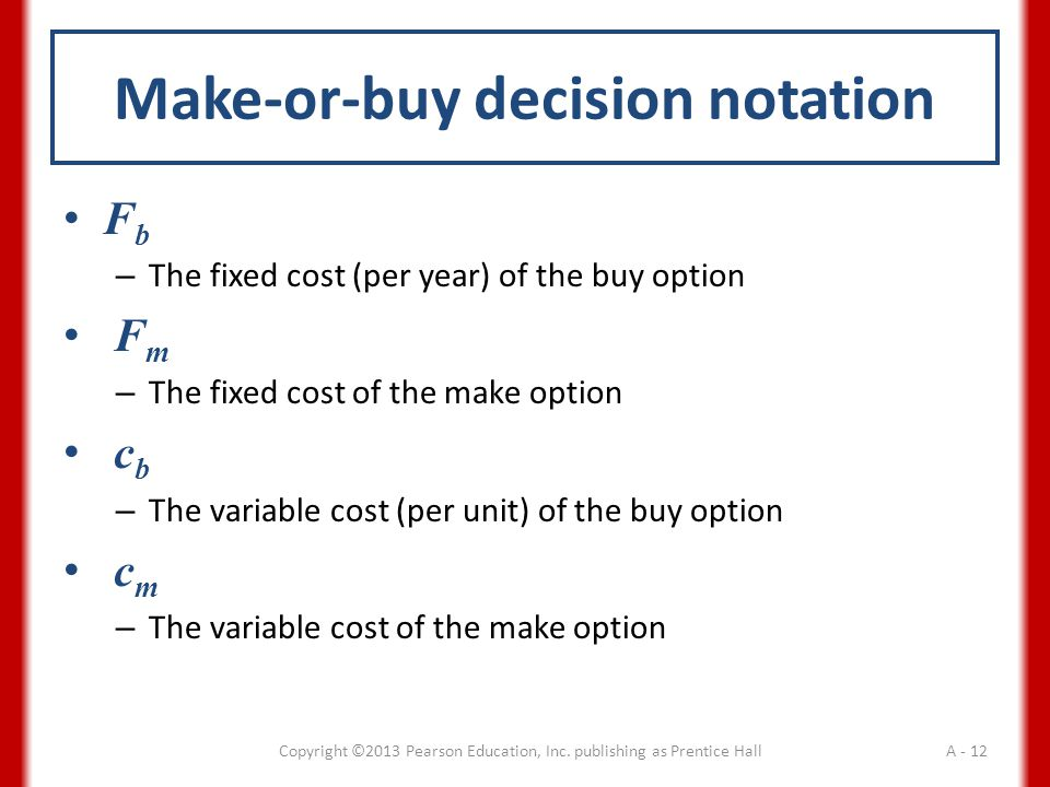 Make-or-buy decision notation