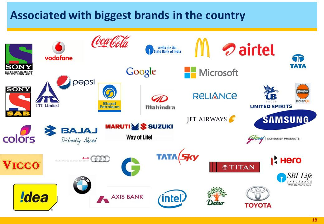 Associated with biggest brands in the country