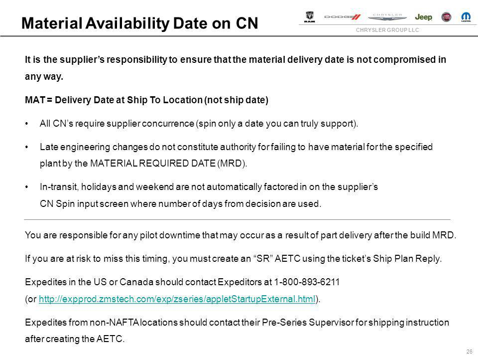 Material Availability Date on CN