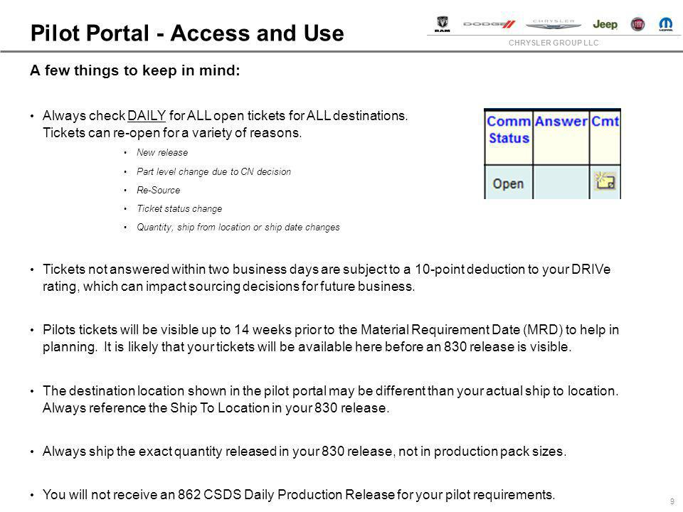 Pilot Portal - Access and Use