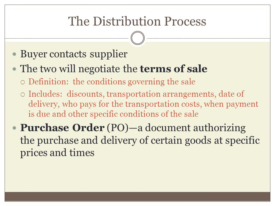 The Distribution Process