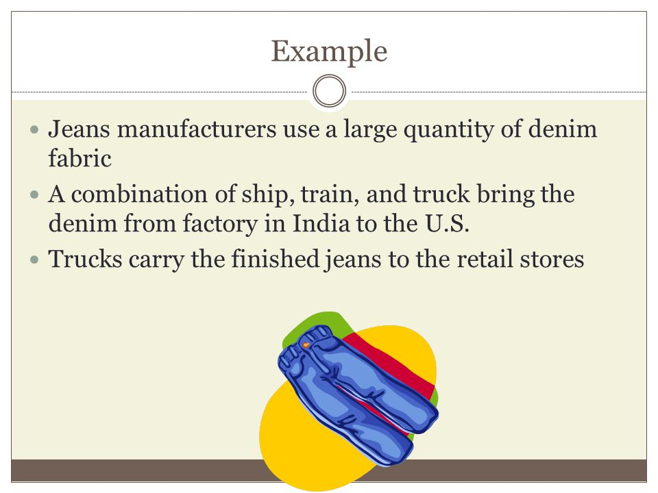 Example Jeans manufacturers use a large quantity of denim fabric