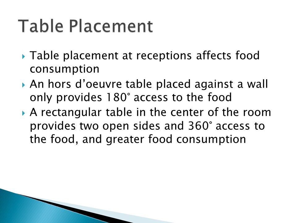 Table Placement Table placement at receptions affects food consumption