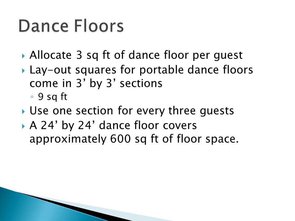 Dance Floors Allocate 3 sq ft of dance floor per guest