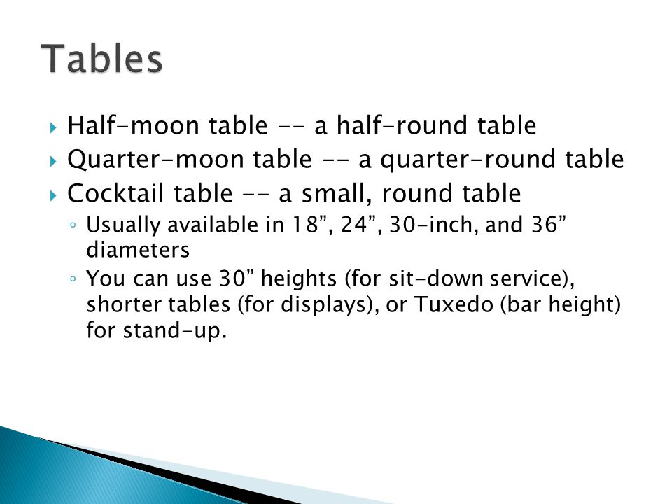 Tables Half-moon table -- a half-round table