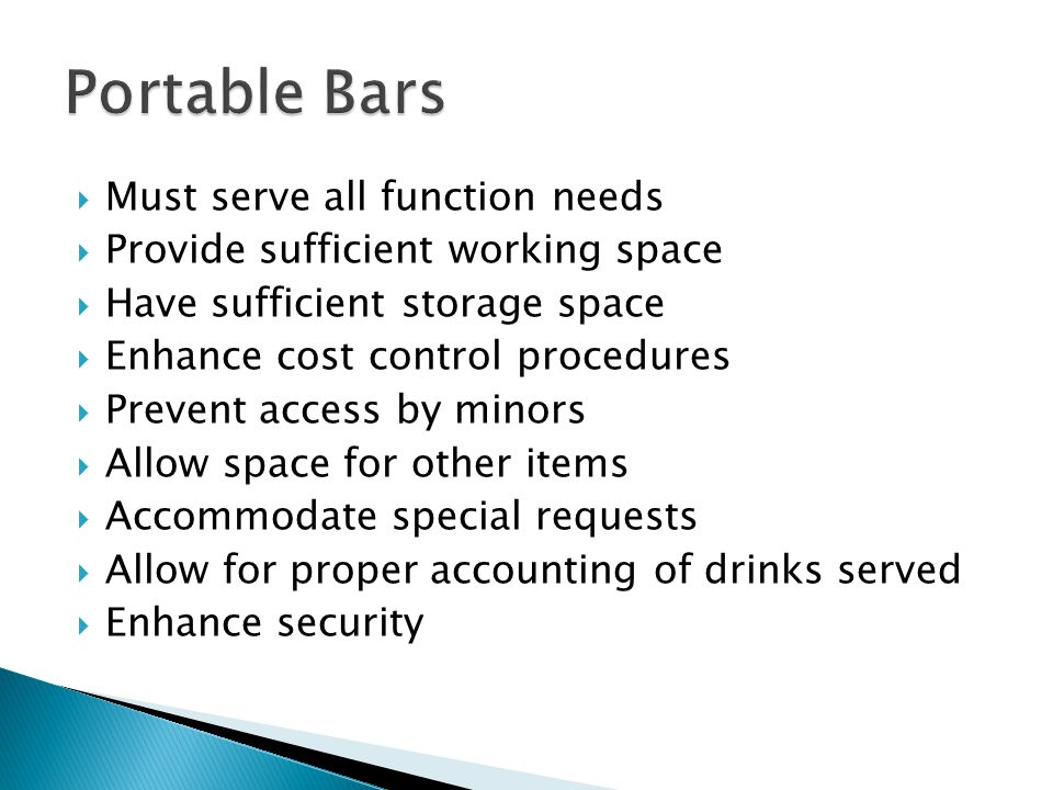 Portable Bars Must serve all function needs