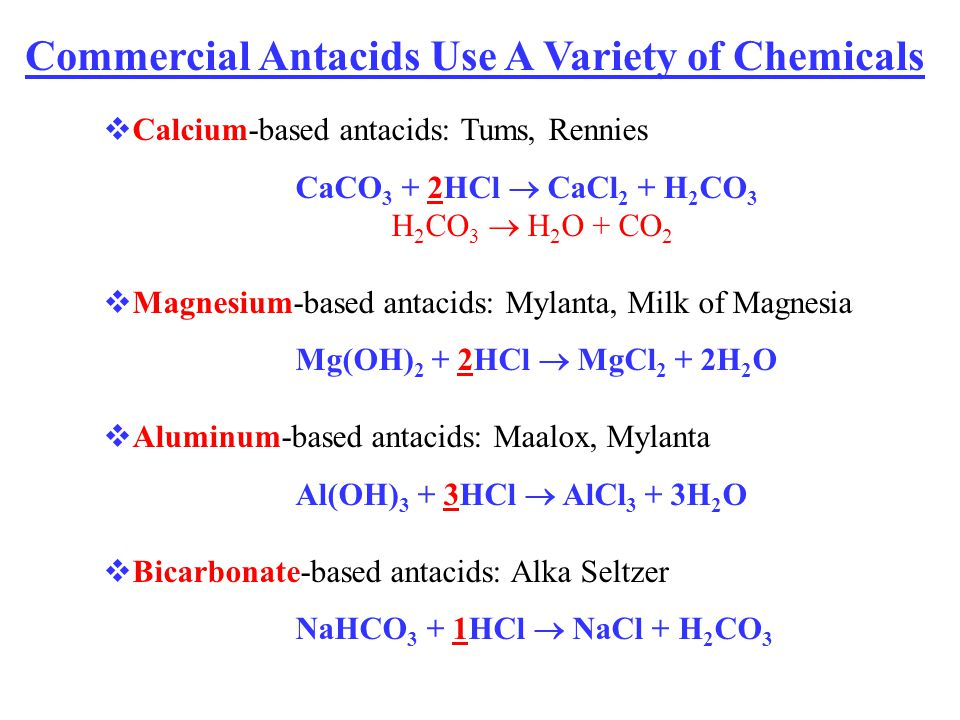 Commercial Antacids Use A Variety of Chemicals