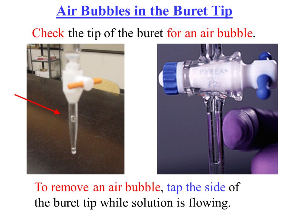 Air Bubbles in the Buret Tip