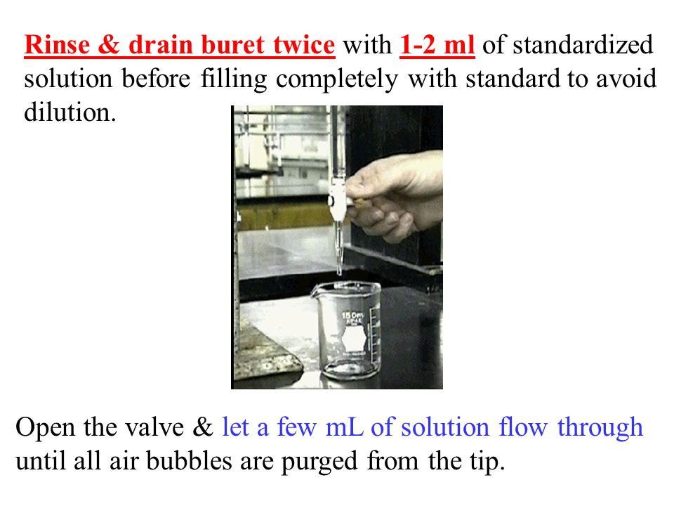 Rinse & drain buret twice with 1-2 ml of standardized solution before filling completely with standard to avoid dilution.