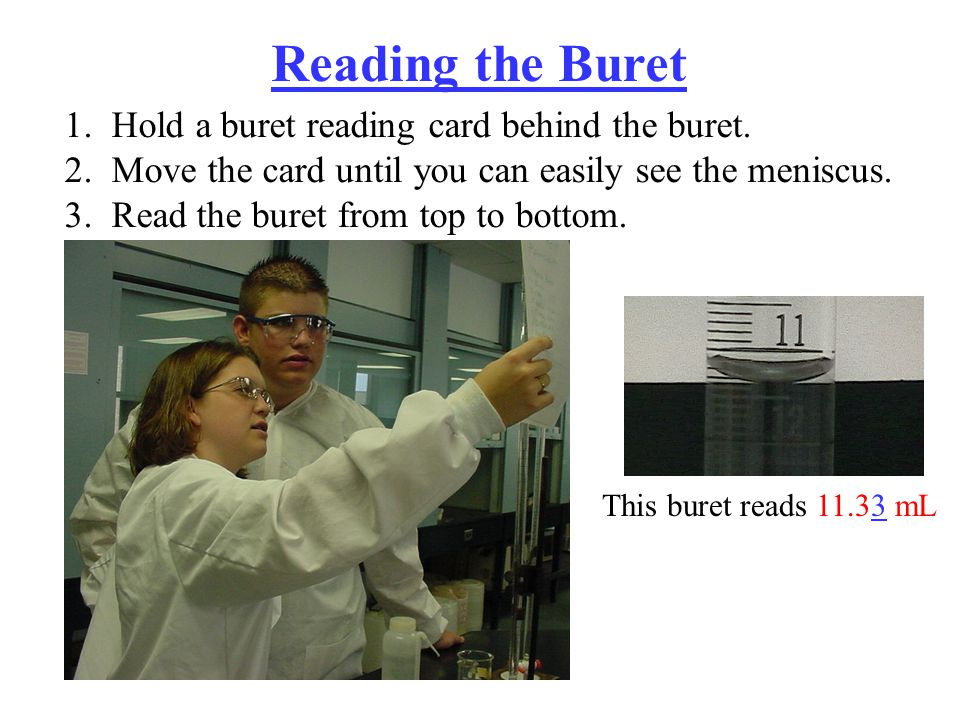 Reading the Buret 1. Hold a buret reading card behind the buret.