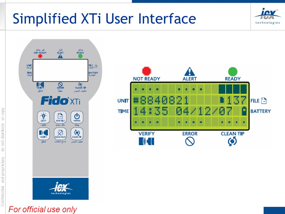 Simplified XTi User Interface