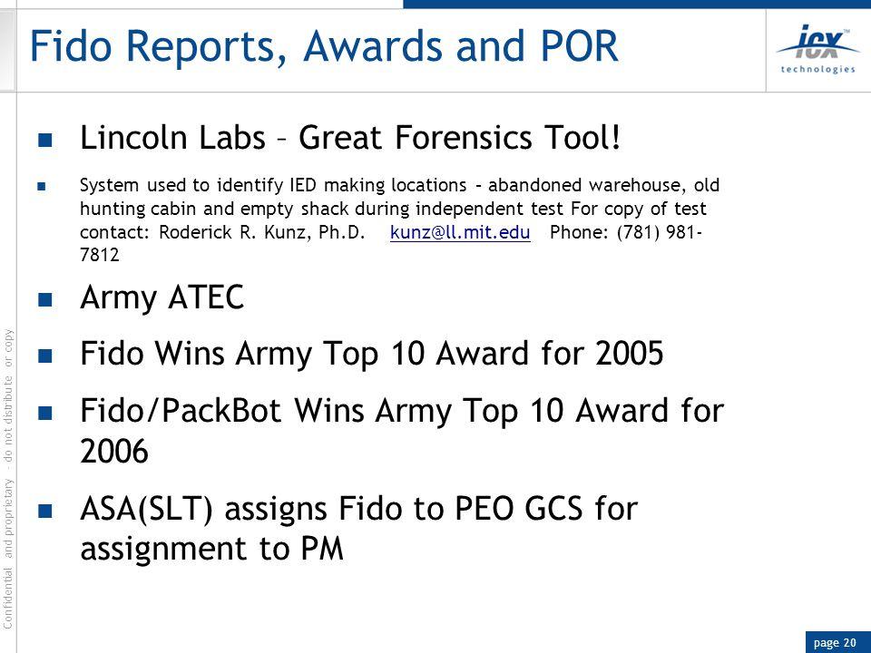 Fido Reports, Awards and POR