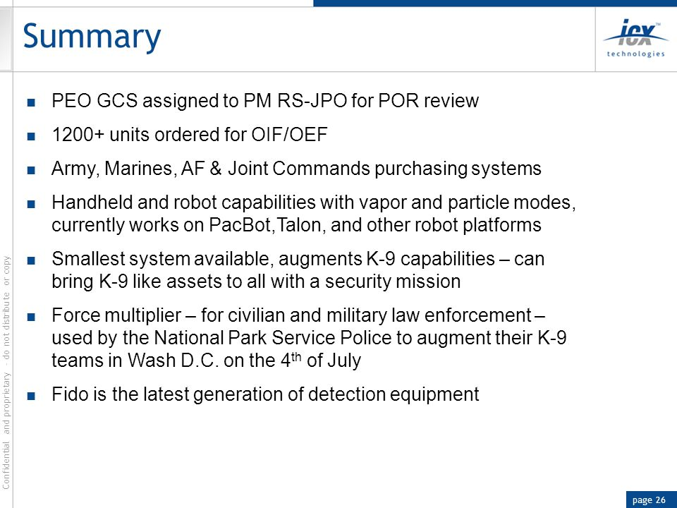 Summary PEO GCS assigned to PM RS-JPO for POR review