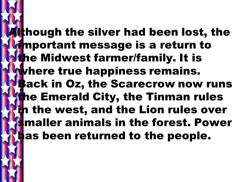 Although the silver had been lost, the important message is a return to the Midwest farmer/family.