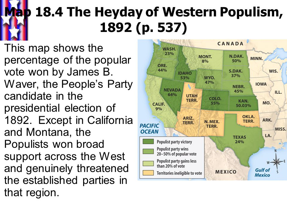 Map 18.4 The Heyday of Western Populism, 1892 (p. 537)