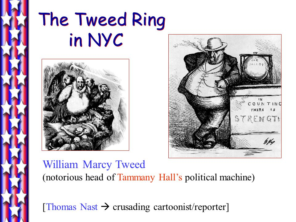 The Tweed Ring in NYC William Marcy Tweed (notorious head of Tammany Hall's political machine)