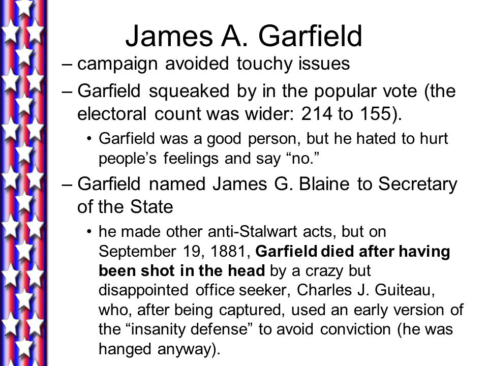 James A. Garfield campaign avoided touchy issues