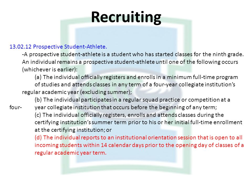 Recruiting Prospective Student-Athlete.